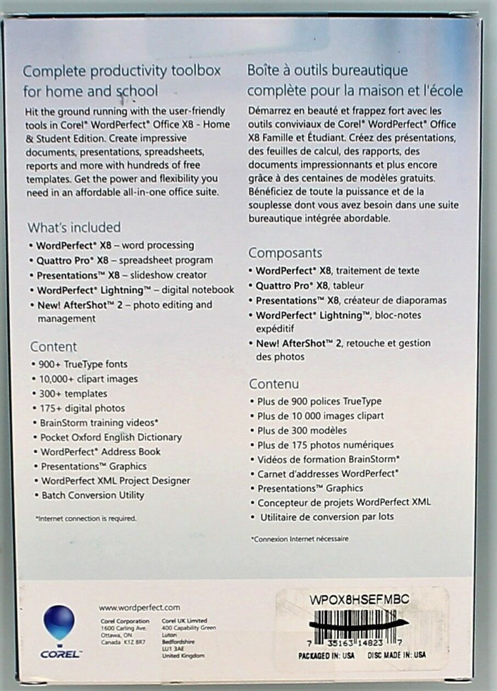 Wordperfect Spreadsheet With Regard To Corel Wordperfect Office X8 Home And Student Edition Wpox8Hsefmbc  Ebay