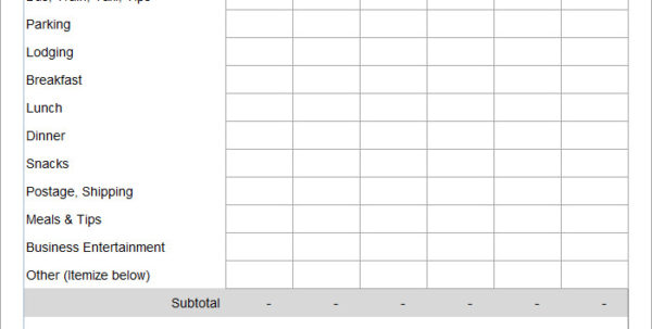 Work Expenses Spreadsheet Template In Employee Expense Report Template  8  Free Excel, Pdf Documents