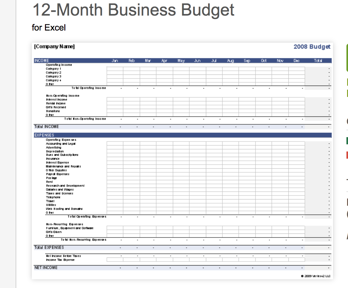 Work Expenses Spreadsheet Template Intended For 7  Free Small Business Budget Templates  Fundbox Blog