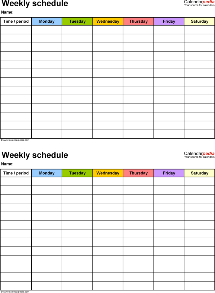 Work Schedule Spreadsheet Excel Regarding Free Weekly Schedule Templates For Excel  18 Templates