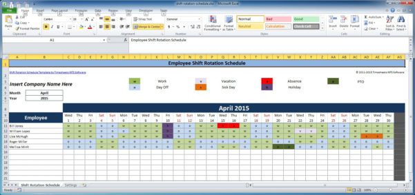 Work Schedule Spreadsheet Excel Within Free Employee And Shift Schedule Templates
