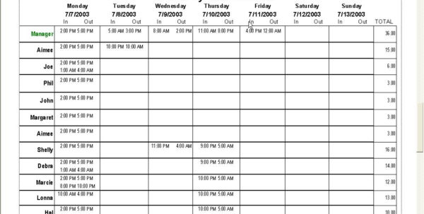 Work Schedule Spreadsheet Regarding Work Schedule Spreadsheet  Aljererlotgd