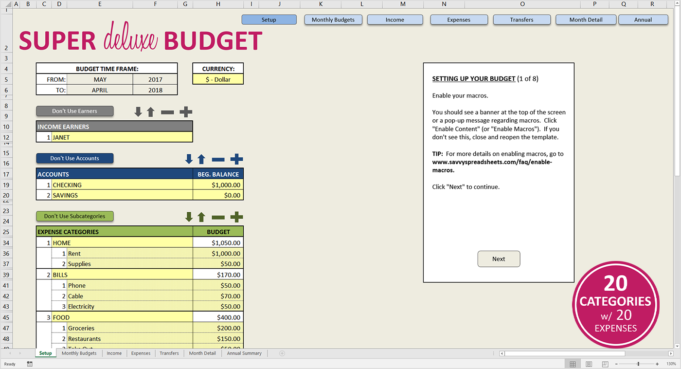 Workable Budget Spreadsheet Intended For Premium Excel Budget Template  Savvy Spreadsheets