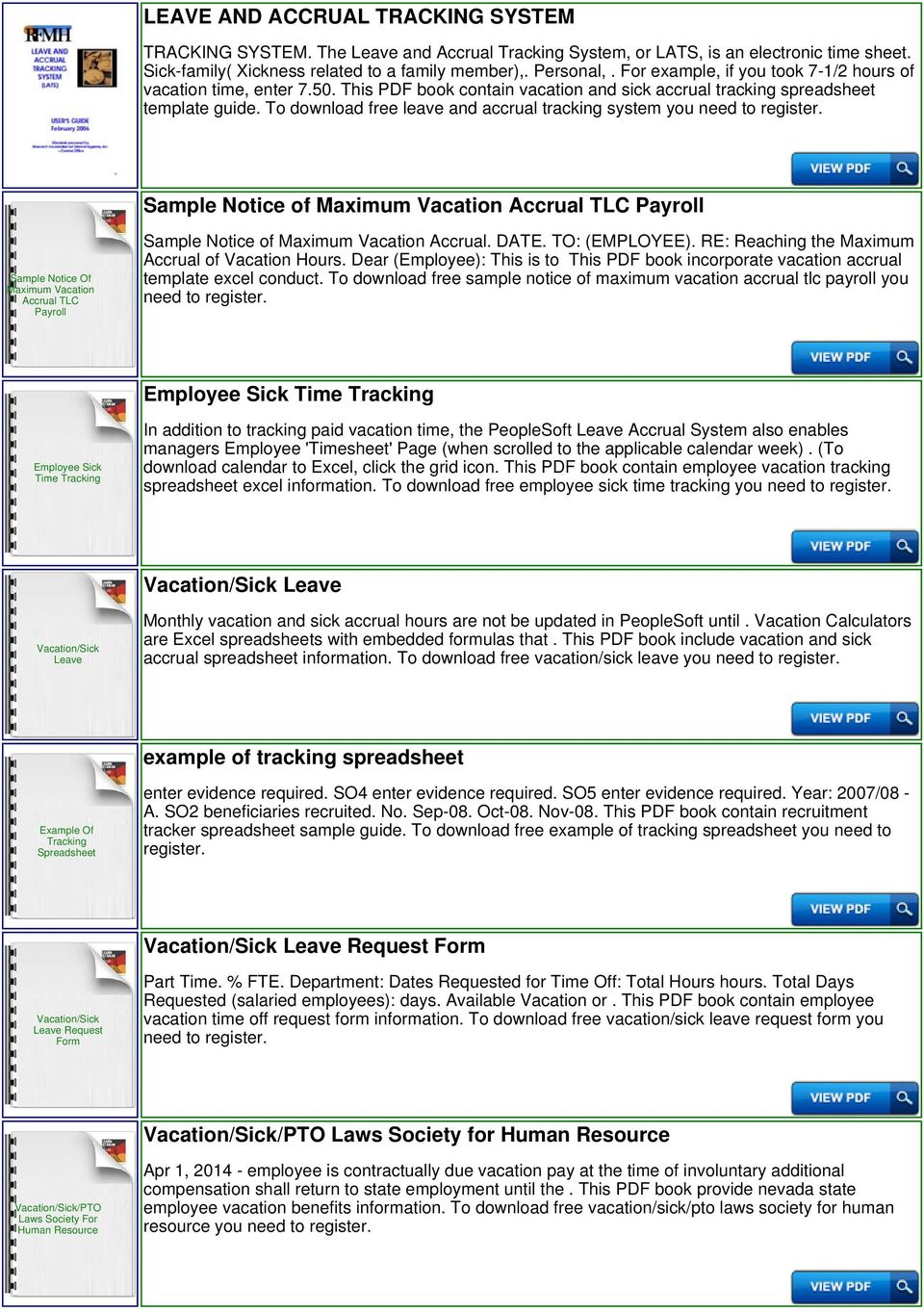 Workers Compensation Excel Spreadsheet For Vacation And Sick Accrual Tracking Spreadsheet Template  Pdf