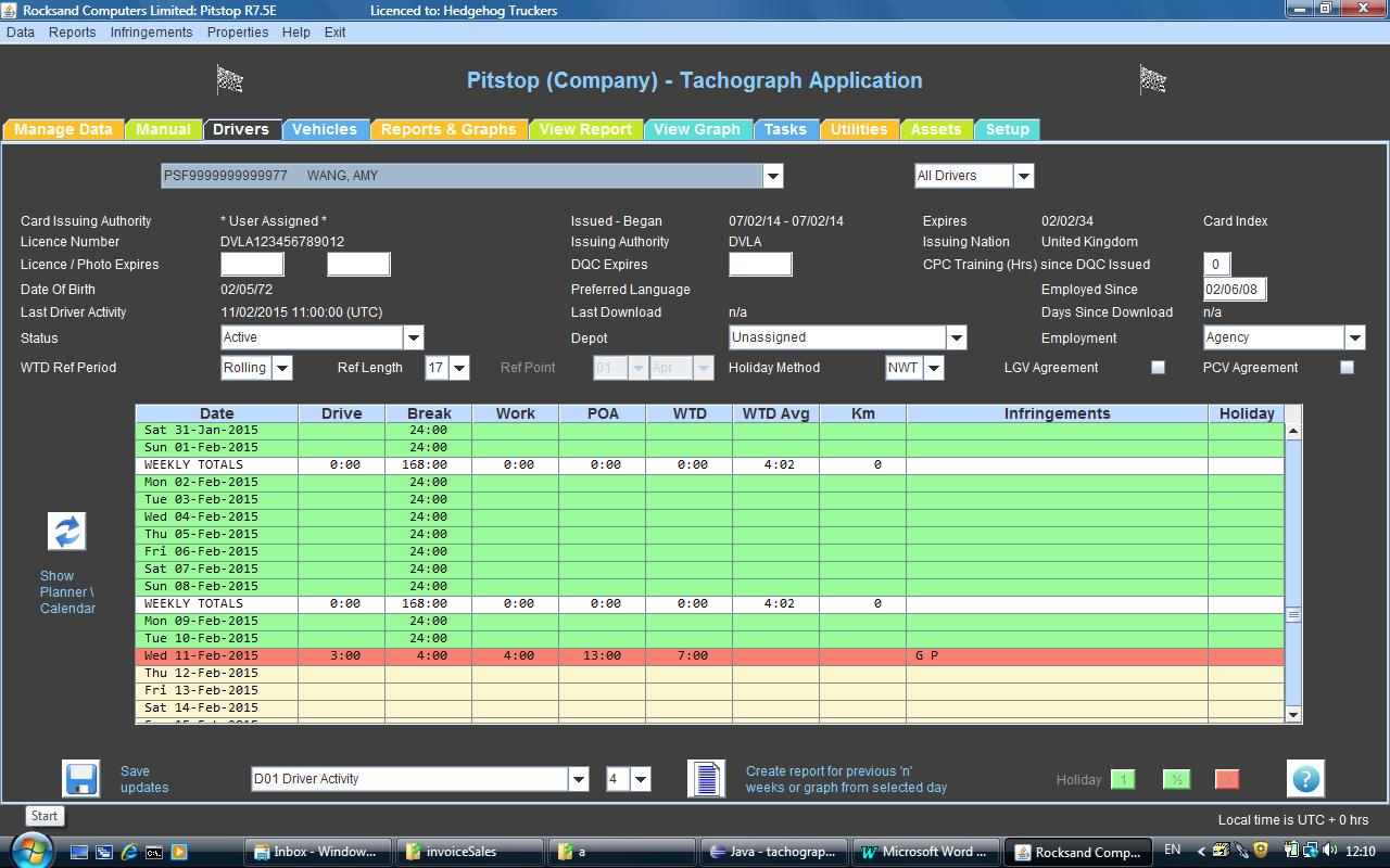 Working Time Directive Drivers Hours Spreadsheet Within Digital Tachograph Software From Rocksand