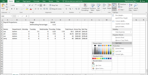 Working With Spreadsheets In Excel Throughout Change Worksheet Tab Color In Excel  Instructions