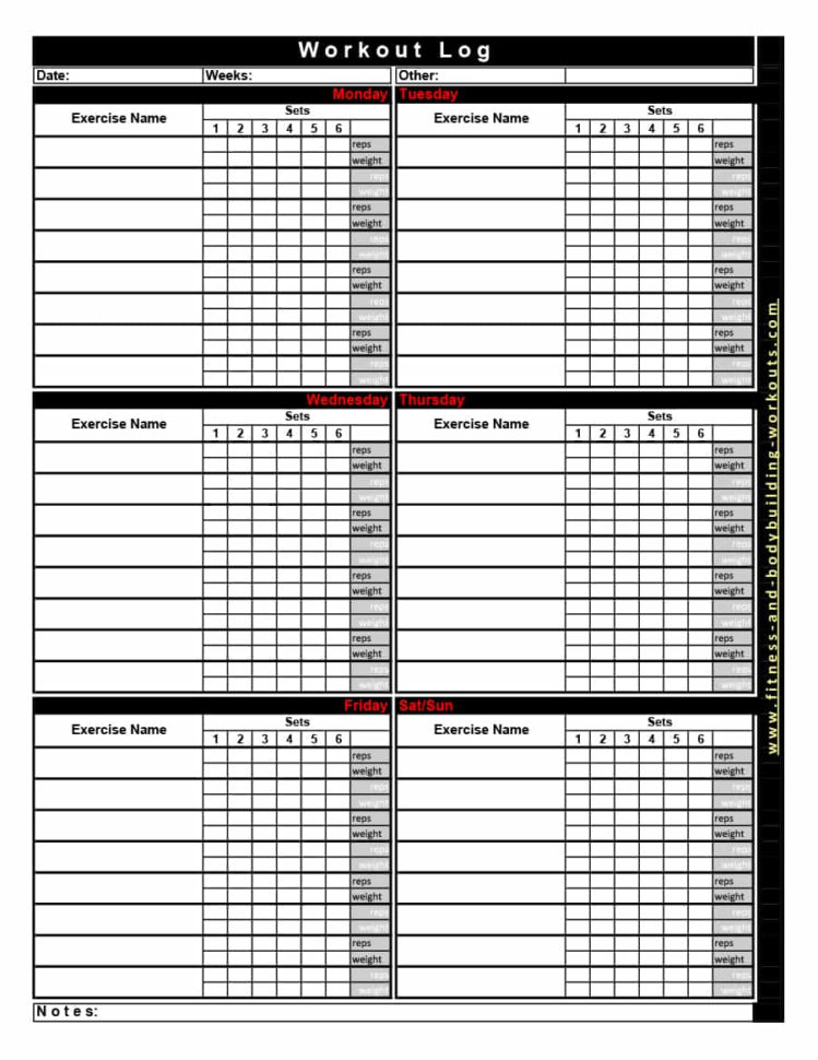 Workout Routine Spreadsheet Pertaining To 40  Effective Workout Log  Calendar Templates  Template Lab