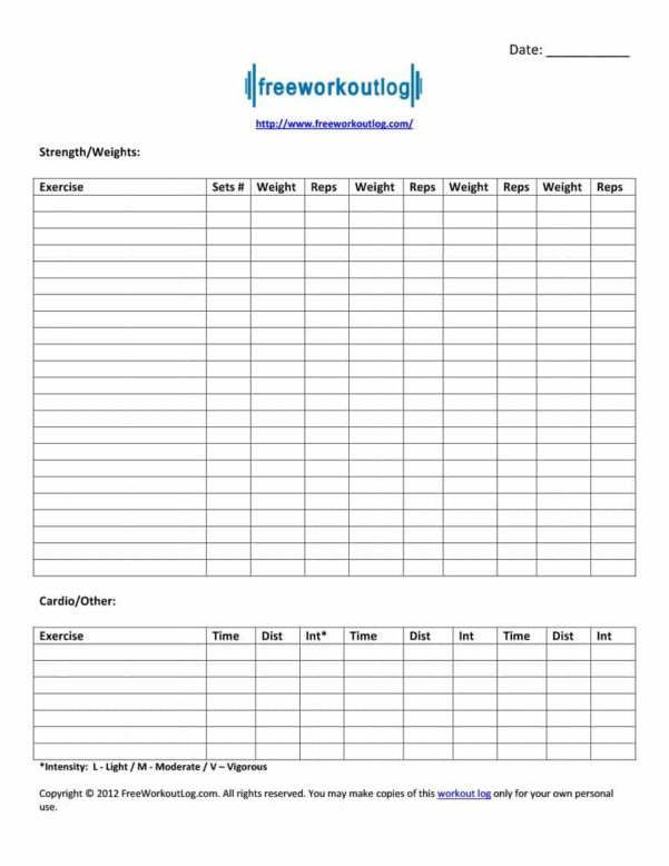 Workout Routine Spreadsheet With 40  Effective Workout Log  Calendar Templates  Template Lab