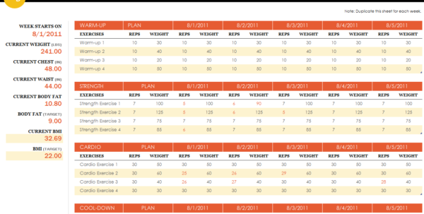 Workout Spreadsheet Excel Template With Regard To Workout Templates Excel  Alex.annafora.co
