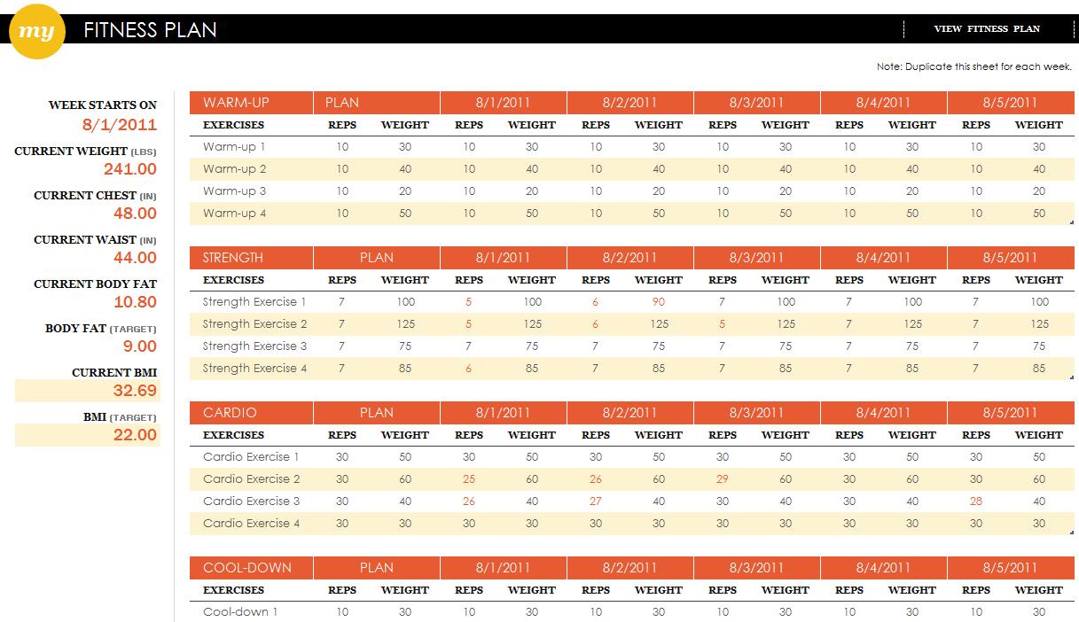 Workout Spreadsheet Template Inside Workout Plans Excel  Kasare.annafora.co