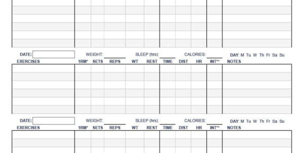 Workout Spreadsheet Template Intended For 40  Effective Workout Log  Calendar Templates  Template Lab