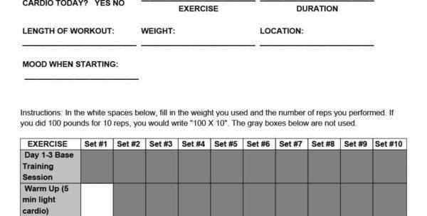 Workout Spreadsheet Template Regarding 40  Effective Workout Log  Calendar Templates  Template Lab