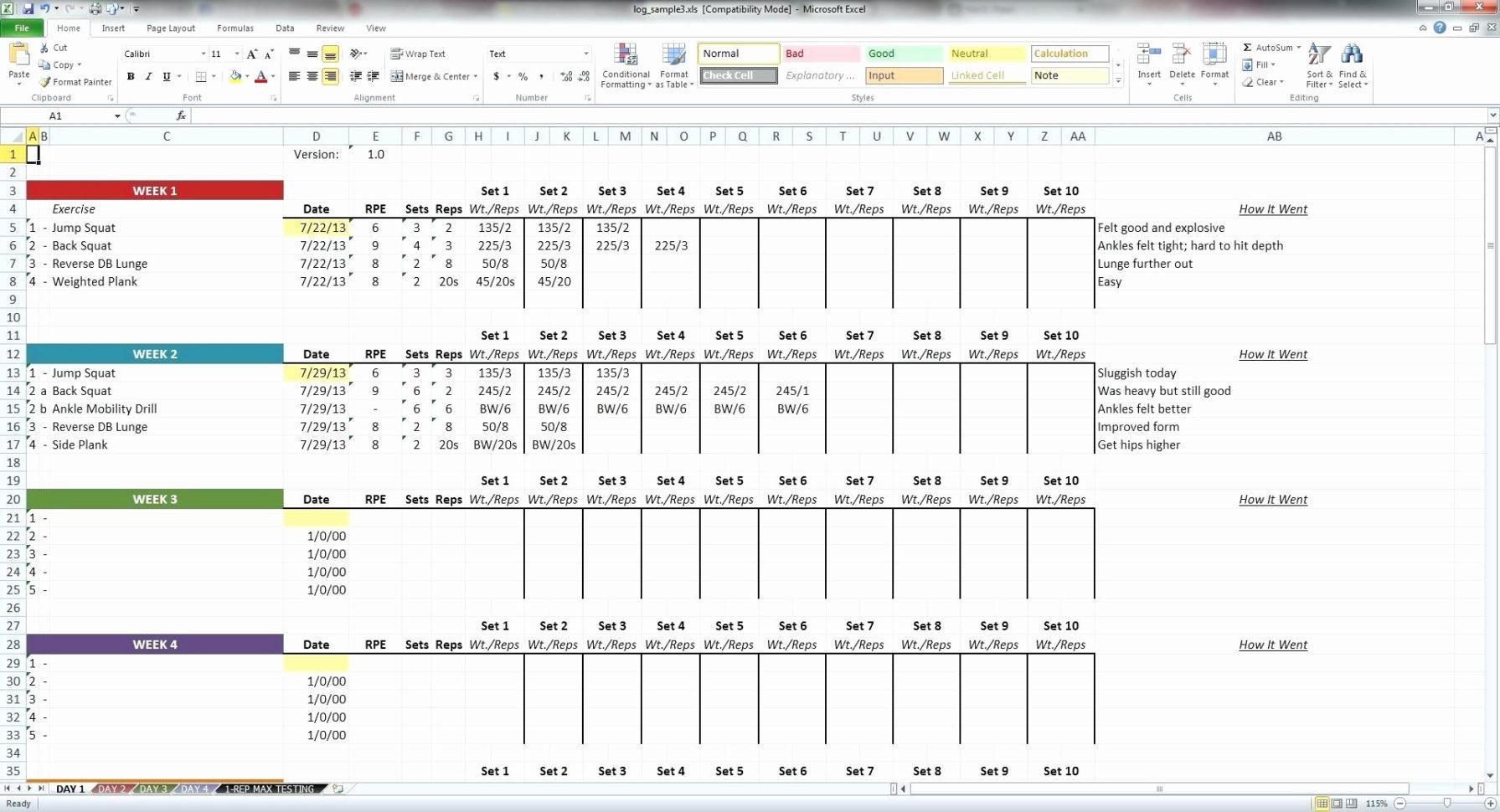 Workout Spreadsheet Template Throughout Workout Log Template Excel Fresh Salesman Performanceking Excel