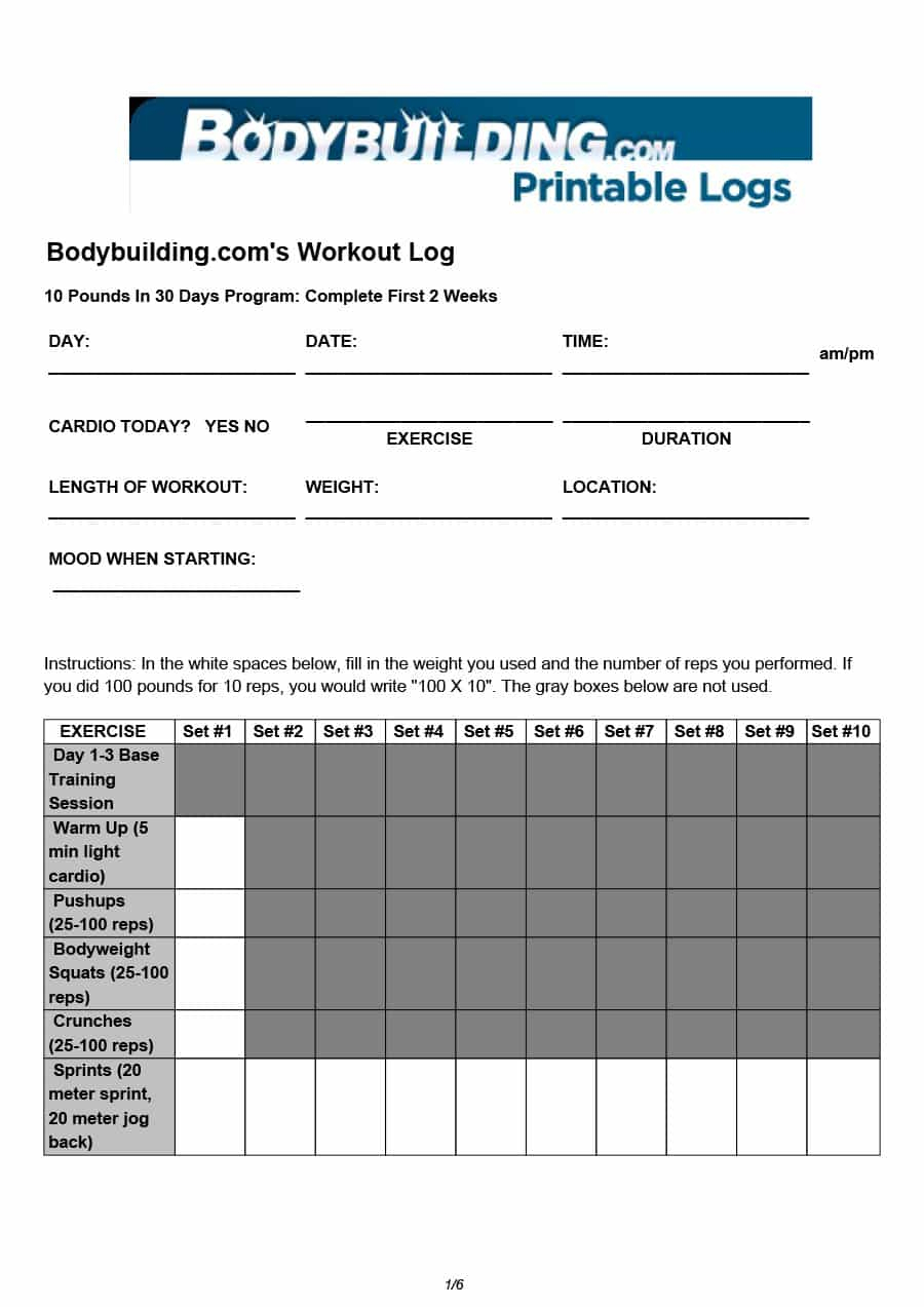 Workout Spreadsheet Within 40  Effective Workout Log  Calendar Templates  Template Lab