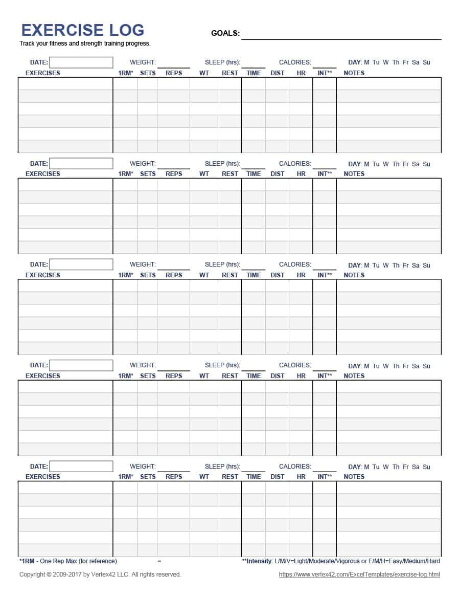 Workout Template Spreadsheet Inside 40  Effective Workout Log  Calendar Templates  Template Lab