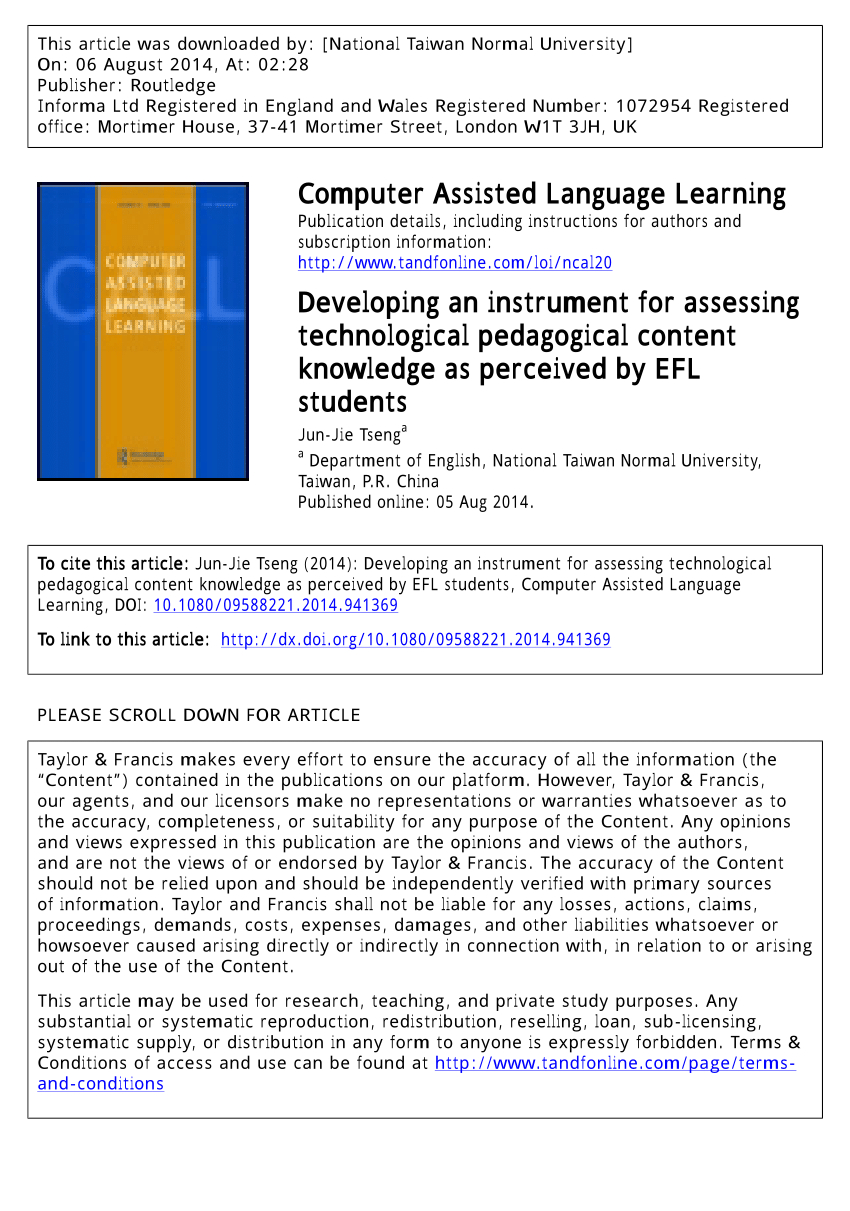 Www Teach Ict Com Spreadsheets Crossword Inside Teachers' Perceptions About The Use Of Computers In Efl Teaching And