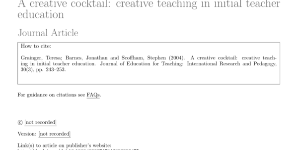 Www Teach Ict Com Spreadsheets Crossword Regarding Pdf Creative Teaching For Tomorrow: Fostering A Creative State Of Mind