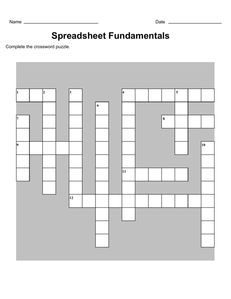 Www Teach Ict Com Spreadsheets Crossword Within Teach Ict Spreadsheets And Computing Assessment Spreadsheet