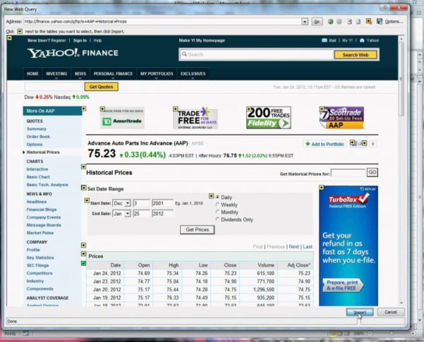Yahoo Finance Spreadsheet Regarding Download Stockuotes To Excel Spreadsheet Examples Link Yahoo Finance