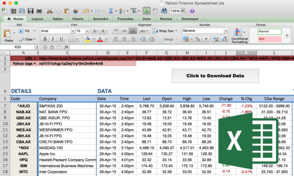 Yahoo Finance Spreadsheet Within How To Import Share Price Data Into Excel  Market Index