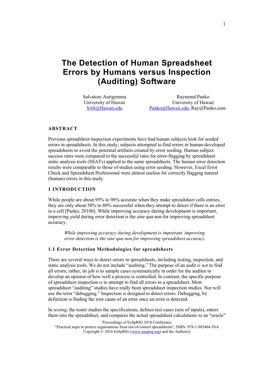 Yield Maintenance Spreadsheet Pertaining To Pdf The Detection Of Human Spreadsheet Errorshumans Versus