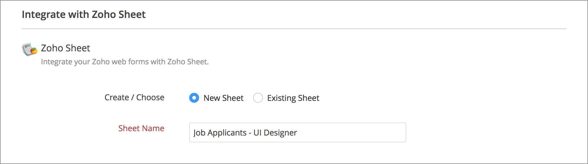 Zoho Spreadsheet Login Within Zoho Sheet Integration  Zoho Forms  User Guide
