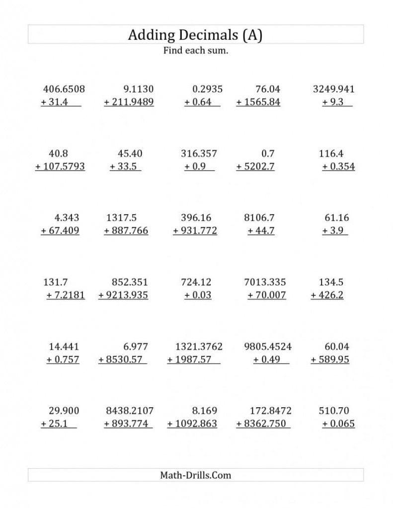 001 Worksheet Marvelous Decimals Comparing Worksheets Grade