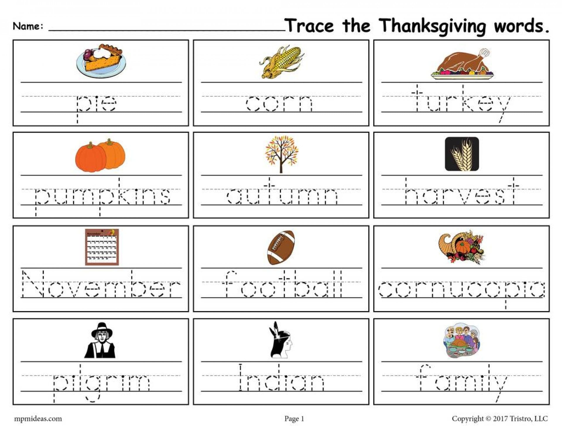 005 Free Printable Word Tracing Worksheets With Thanksgiving