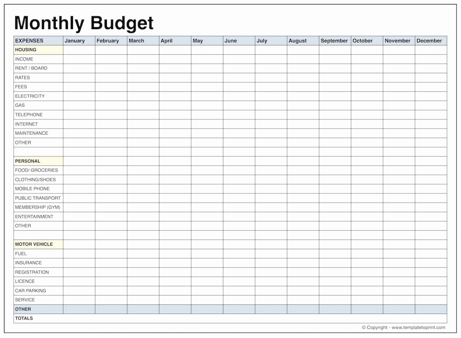 013 Printable Monthly Budget  Free Best Of Blank Bud