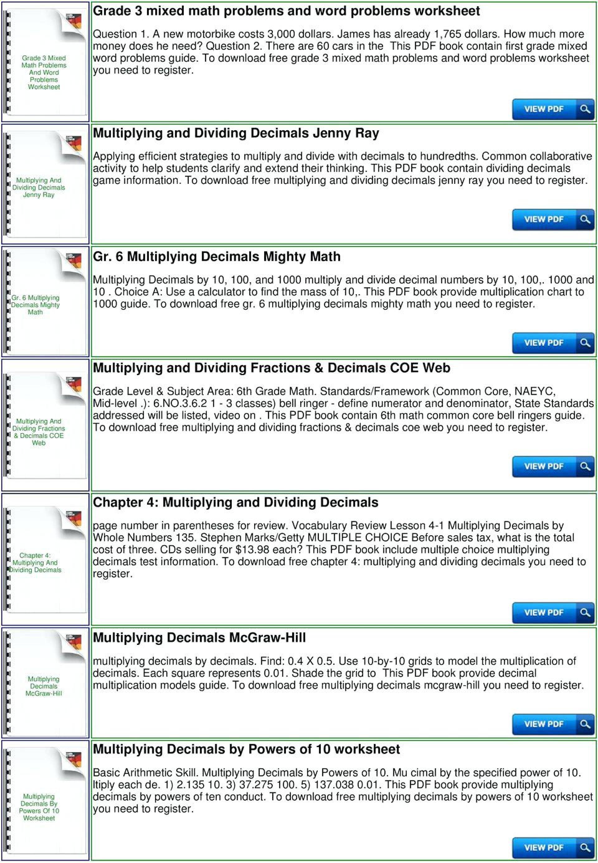 025 5Th Grade Math Dividing Decimals Worksheets With ...