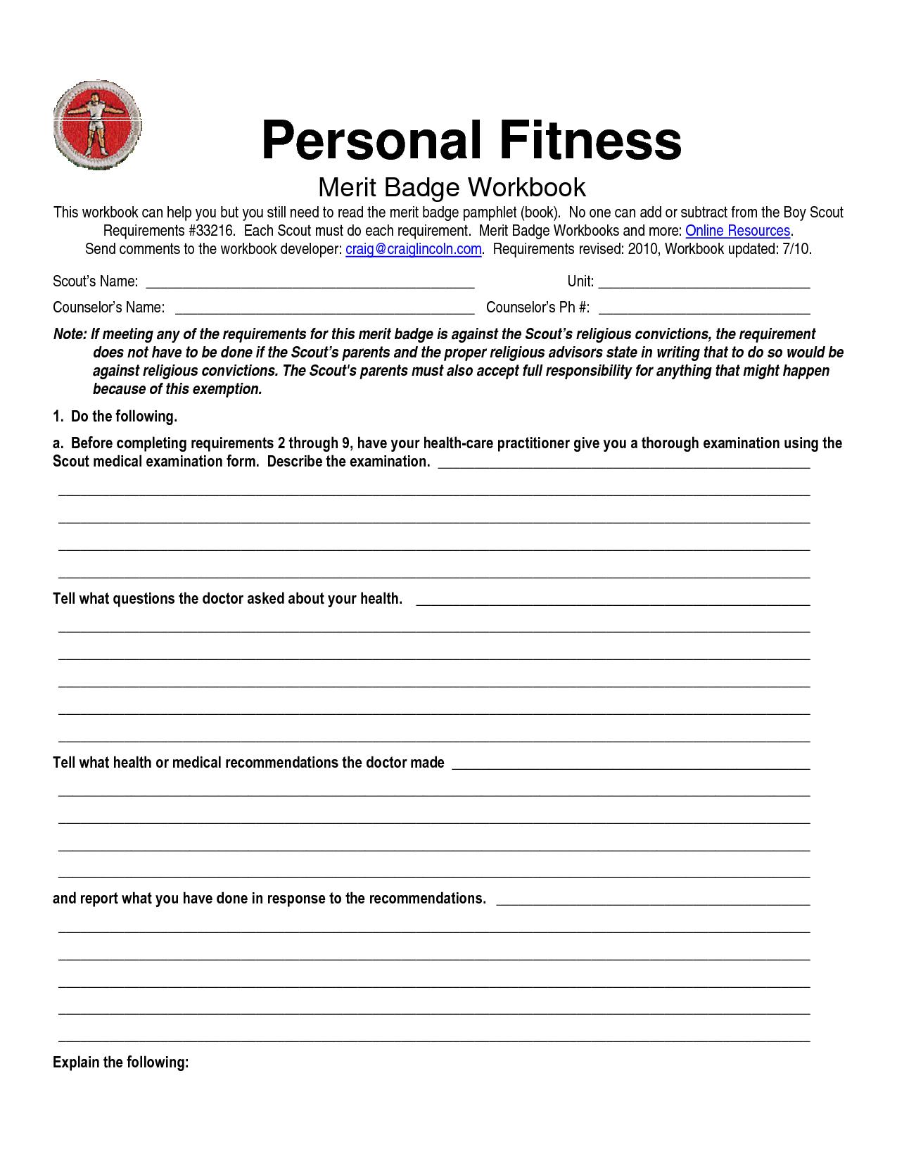 Family Life Merit Badge Worksheet Answers   db excel.com