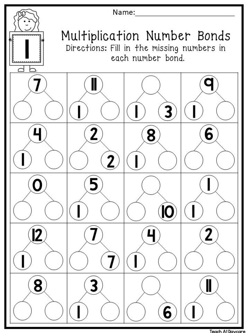 12 Printable Multiplication Number Bonds Worksheets Numbers 112 1St4Th  Grade Math