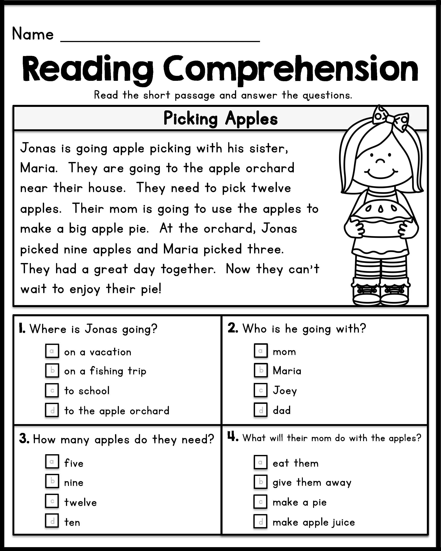 1St Grade Reading Comprehension Worksheets Pdf For ...