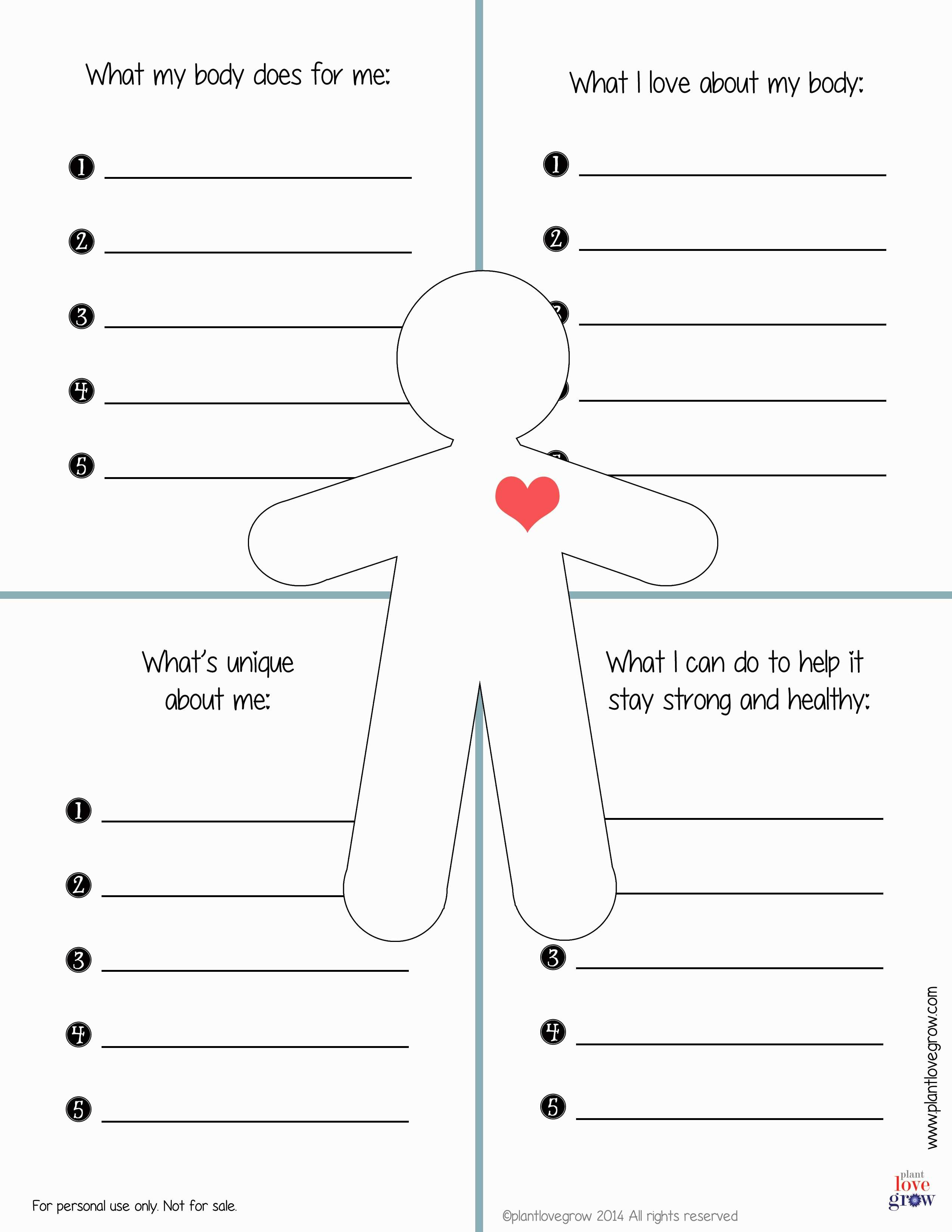 30 Self Esteem Worksheets To Print  Kittybabylove