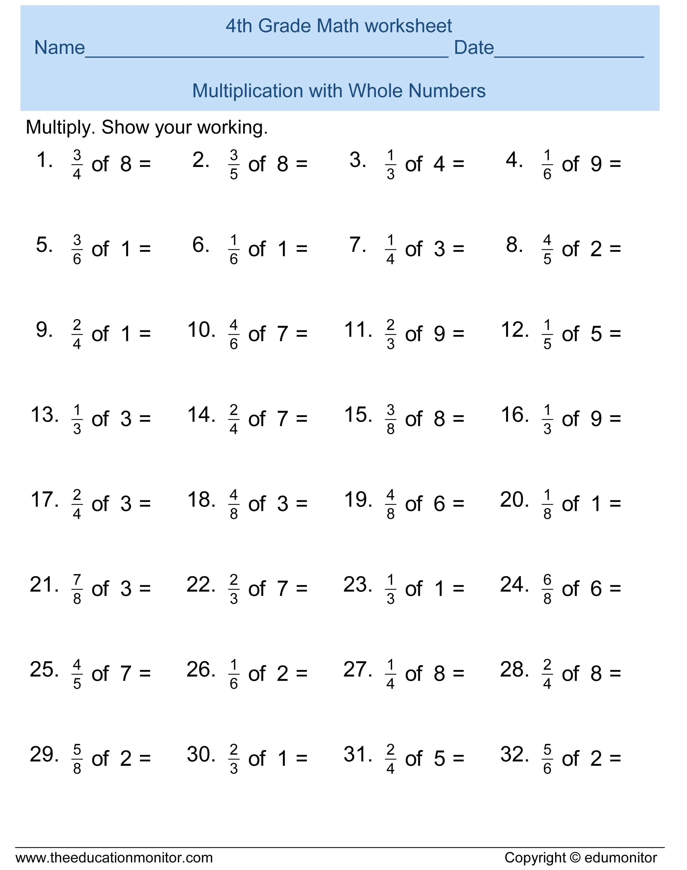 3Rd Grade Math Practice Worksheets Fun Multiplication — db ...