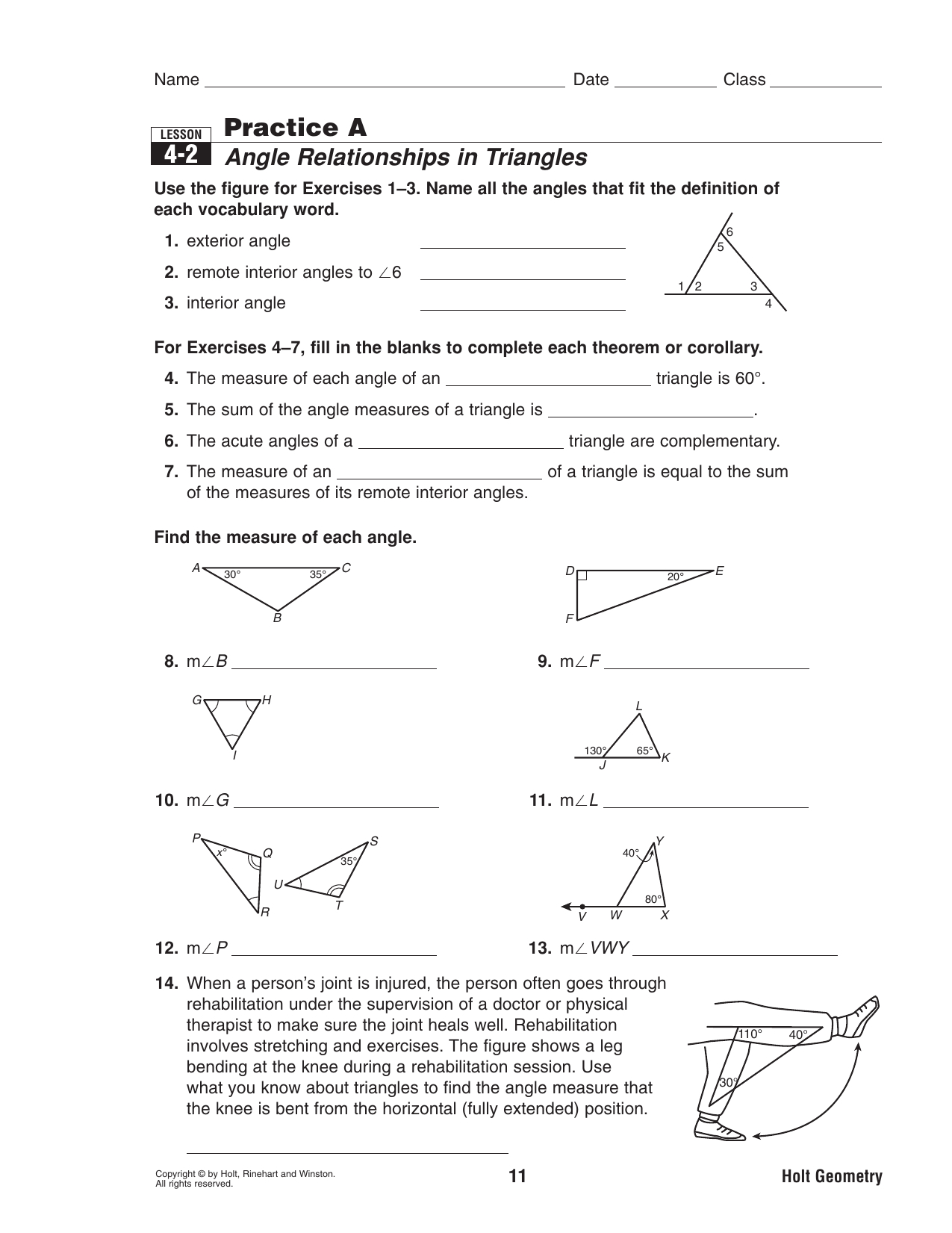 42 Practice A Angle Relationships In Triangles | db-excel.com