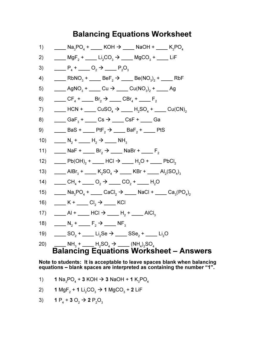 49 Balancing Chemical Equations Worksheets With Answers ...