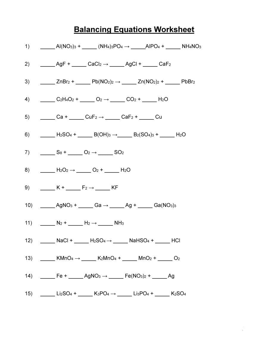 Balancing Equations Practice Worksheet Answer Key | db ...