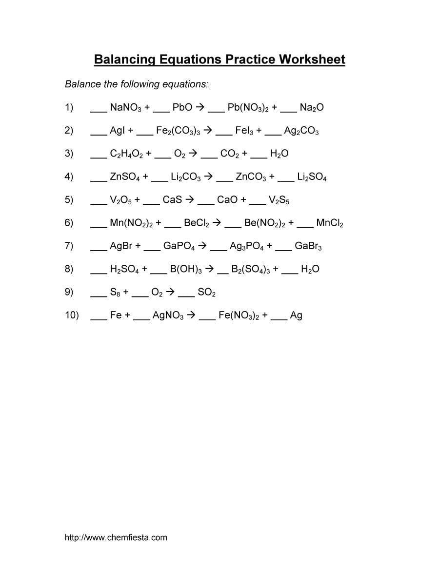 Balancing Equations Practice Worksheet | db-excel.com