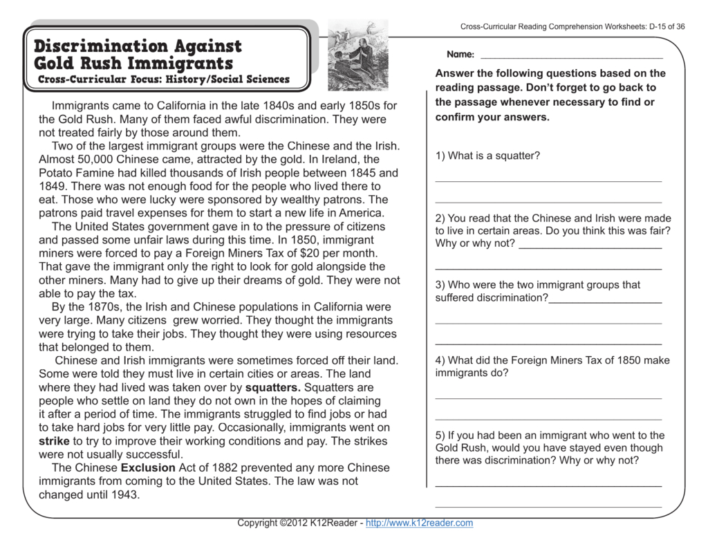 4Th Grade Reading Comprehension Worksheets — db excel.com