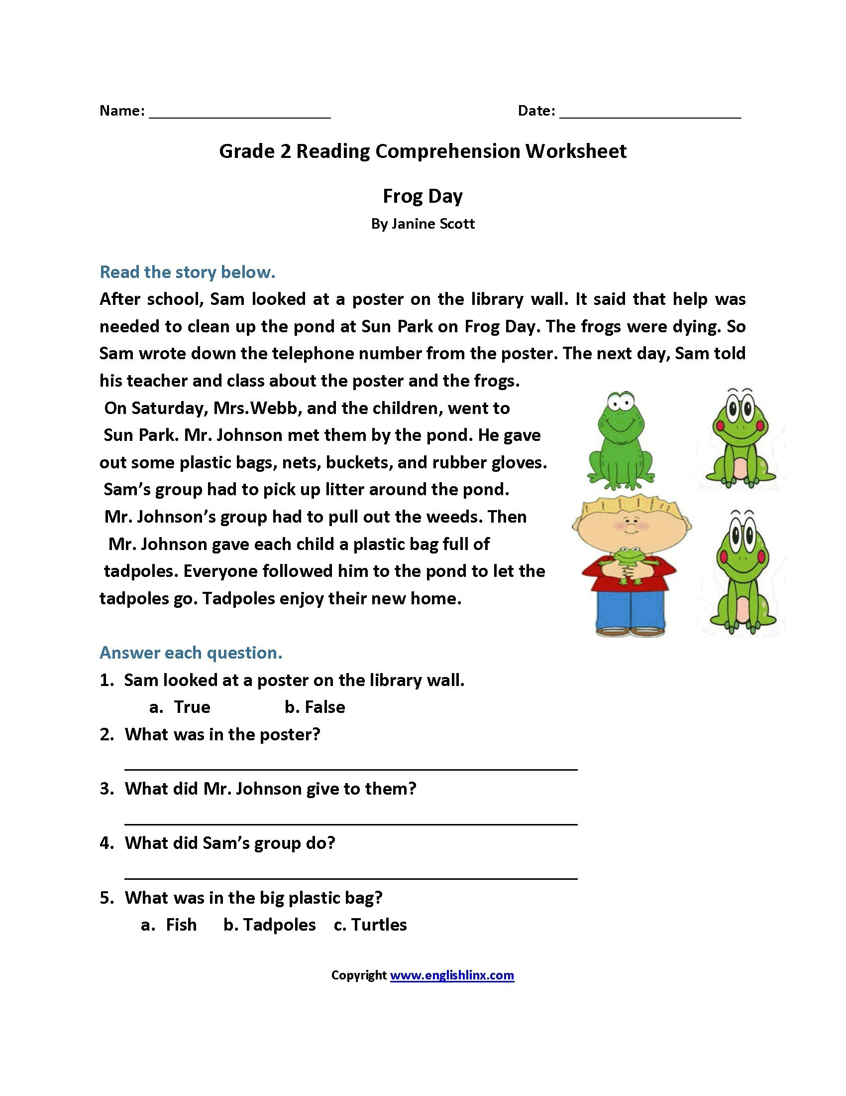 4Th Grade Reading Comprehension Worksheets Multiple Choice ...