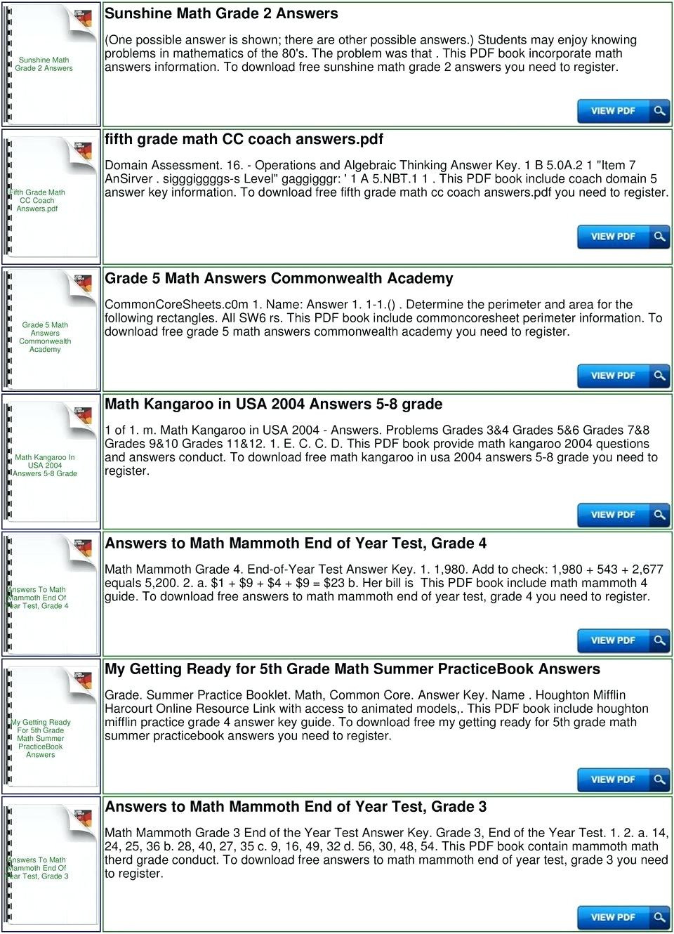 5Th Grade Common Core Math Worksheets Answers For Print ...