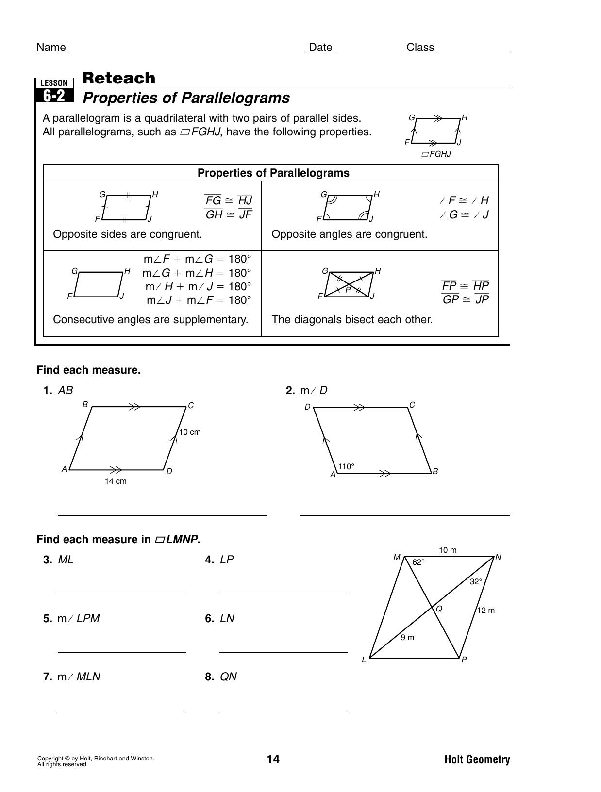 62 Reteach Properties Of Parallelograms — db excel.com