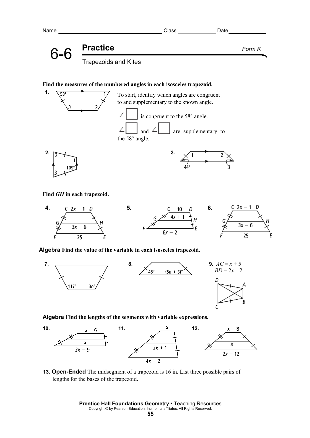 Geometry Worksheet Kites And Trapezoids Answers Key — db ...
