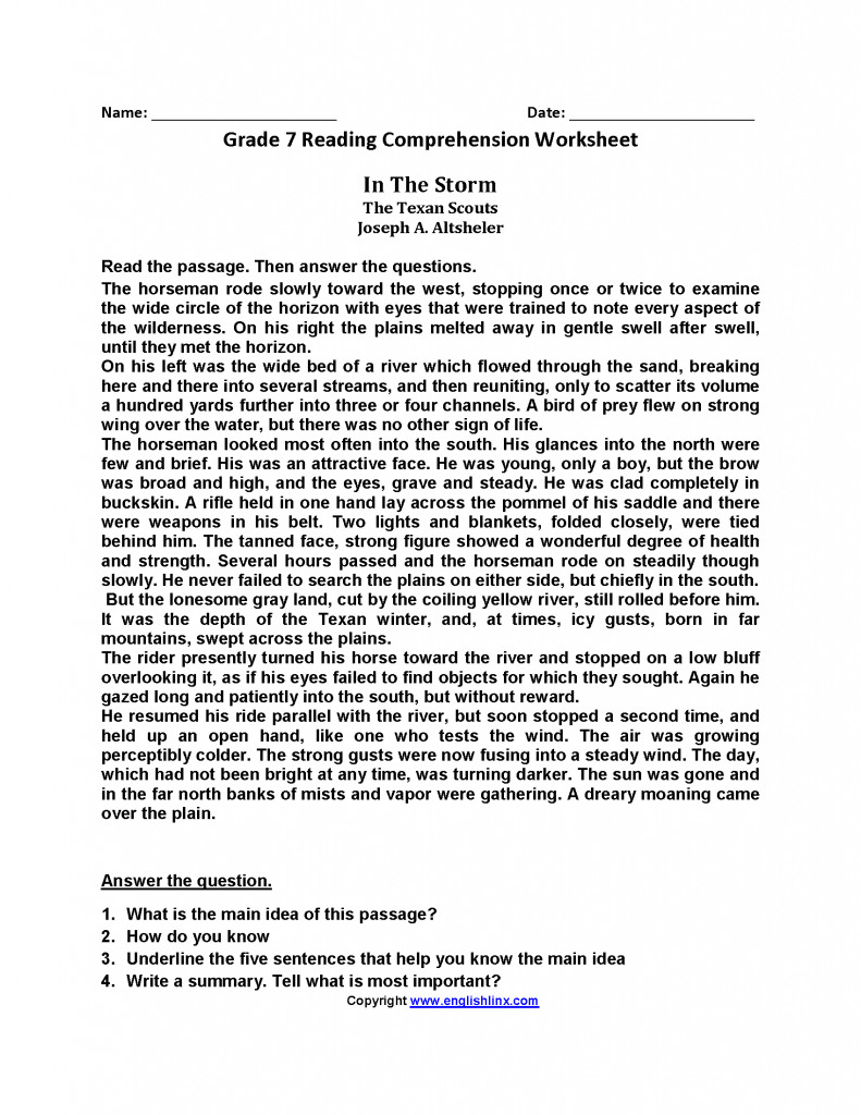 7Th Grade Writing Worksheets   db-excel.com