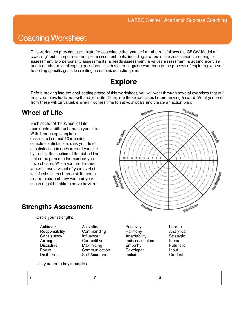 9 Coaching Worksheet  In Pdf