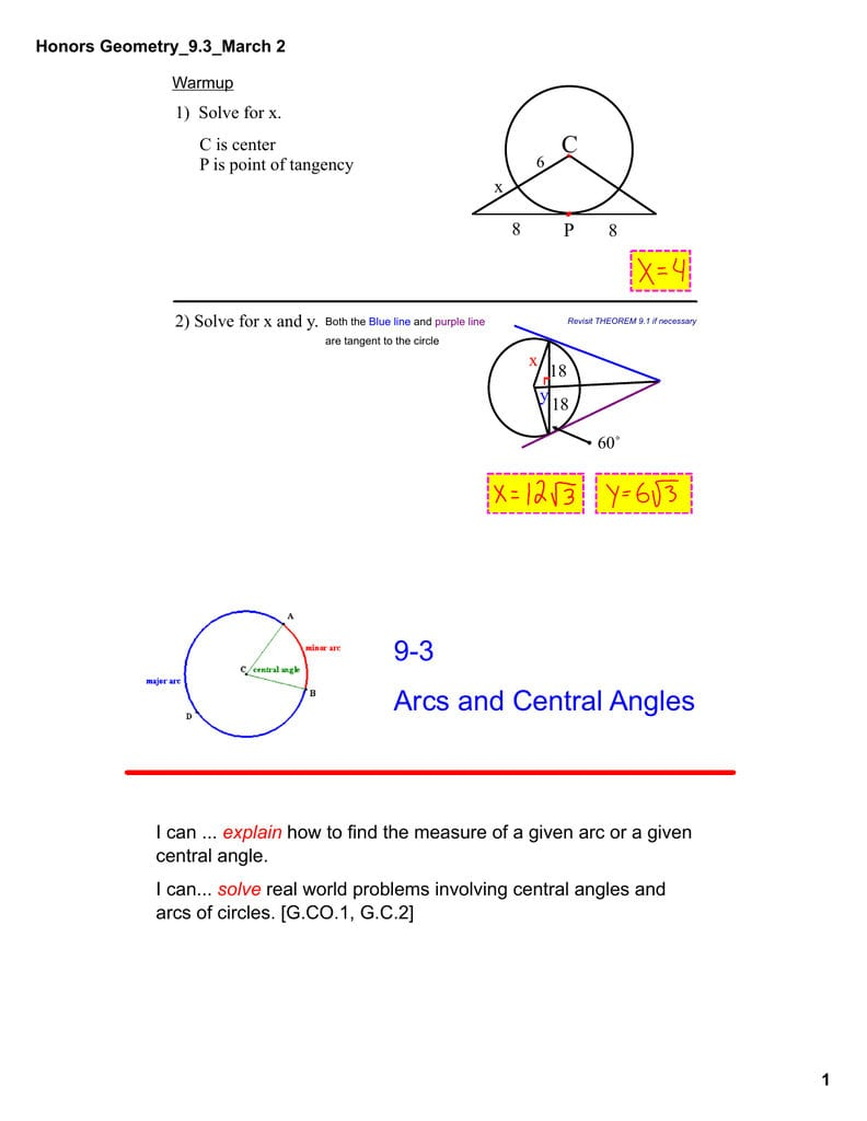 Arcs And Central Angles Worksheet   db excel.com