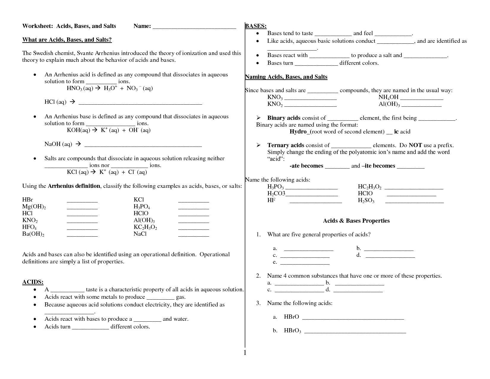 Acids Bases And Ph Worksheet Answers Worksheet — db-excel.com