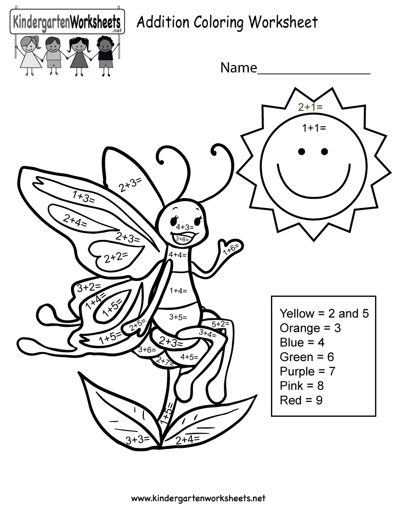Addition Coloring Worksheet  Free Kindergarten Math Worksheet For Kids
