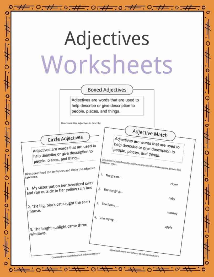 Adjectives Definition Worksheets   In Text For Kids